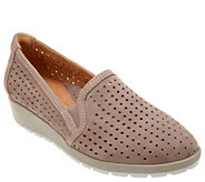Earth Perforated Leather Wedges - Juniper - A304192
