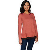 As Is LOGO Lounge by Lori Goldstein French Terry Top w/Ruf &Mesh - A307092