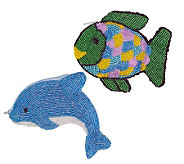 Set of 2 Beaded  Fish & Dolphin Coin Purses - A313892