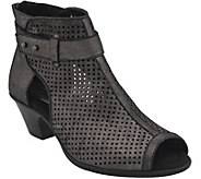 Earth Suede Perforated Peep Toe Booties  - Intrepid - A360892
