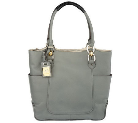 B.Makowsky Glove Leather Zip Top North/South Tote
