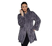 As Is Dennis Basso Reversible Textured Faux Fur Hooded Coat - A225393