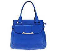 B. Makowsky Mini Pebble Leather Large Tote with Front Flap Pocket - A225993