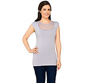 Kathleen Kirkwood Shoulder Padded Cap Sleeve Top with Lace - A230093