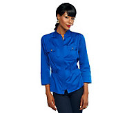 Joan Rivers Military Style Shirt Jacket w/ 3/4 Sleeve & Ruching Detail - A232693