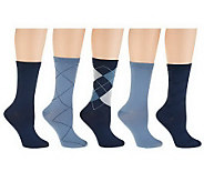 Passione Capri Set of 5 Nylon Crew Socks - A232893