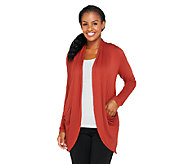 LOGO by Lori Goldstein Slub Knit Cocoon Draped Cardigan - A235493