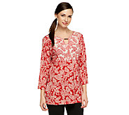 Susan Graver Liquid Knit Twin Print 3/4 Sleeve Top with Keyhole Neck - A239793