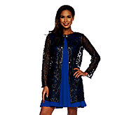 Bob Mackies Long Sleeve Faux Leather & Sequin Detail Sheer Jacket - A251793