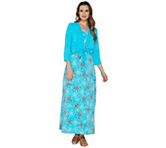Denim & Co. Perfect Jersey Printed Maxi Dress with Shrug - A252693