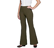 Women with Control Regular Flare Leg Pants with Flat Front Waistband - A255793