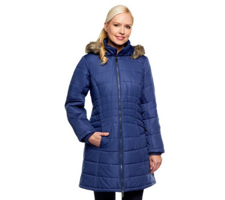"""""""As Is"""" Susan Graver Puffer Coat with Removable Trimmed ..."""