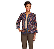 Joan Rivers Abstract Print Knit Jacket with 3/4 Sleeve - A256793