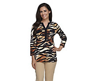 Susan Graver Printed Liquid Knit Henley Top w/ Flap Pockets - A257093