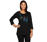 Quacker Factory Ombre Sparkle Trees 3/4 Sleeve T-shirt - A258393