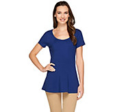 Isaac Mizrahi Live! Short Sleeve Peplum Knit Top - A265193