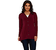 Susan Graver Liquid Knit V-neck Button Front Cardigan - A267993
