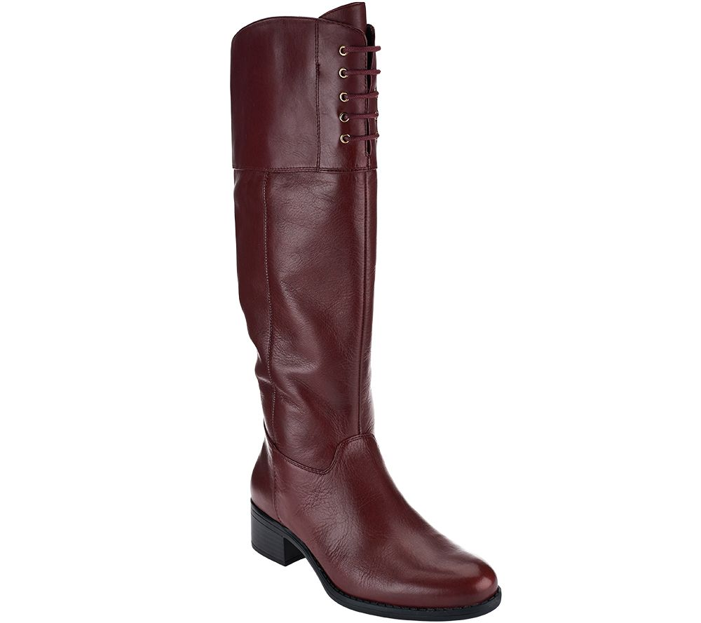isaac mizrahi live wide calf leather boots w lace