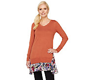 As Is LOGO by Lori Goldstein Cotton Cashmere Sweater with Printed Hem - A269893
