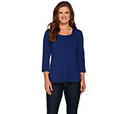 Denim & Co. Jersey Wrap Front Top with Faux Tank - A271293