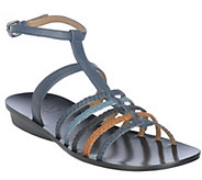 As Is B. Makowsky Leather Braided Strappy Sandals w/ Ankle Strap - A271493