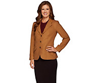 Denim & Co. Button Front Blazer with Faux Leather Collar - A271593
