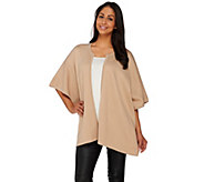 H by Halston Open Front Double Knit Tonal Poncho - A273293