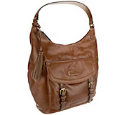 As Is Tignanello Distressed Leather Hobo w/ Buckle Accents - A274693