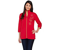 As Is Quacker Factory Good as Gold Zip Front Jacket - A278193