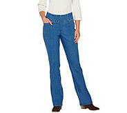 As Is Denim & Co. How Smooth Pull On L Pocket Boot Cut Trouser - A278593
