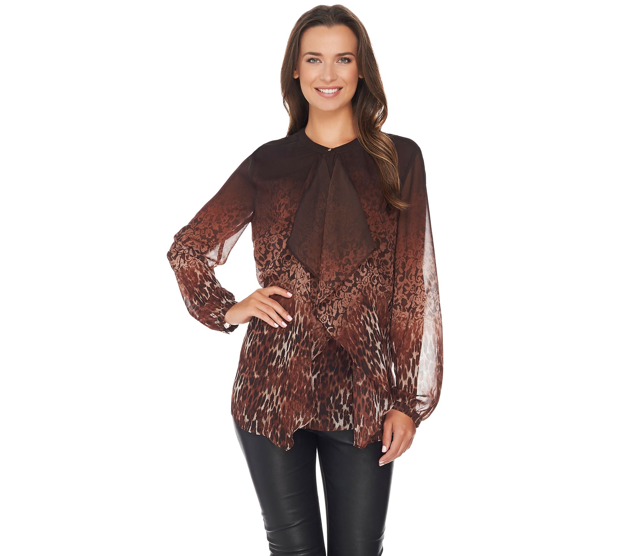 Dennis Basso Dennis Basso Ruffle Front Animal Lace Print Blouse Page 1 Qvccom