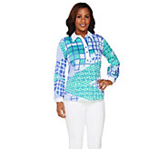 As Is Bob Mackies Long Sleeve Patchwork Print Henley Top - A279593