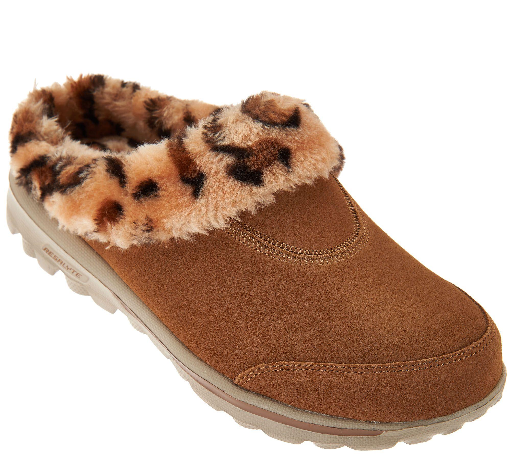 skechers animal clogs fur faux gowalk suede qvc shoes bold sneakers