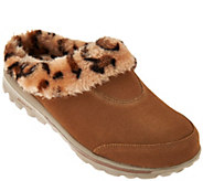 Skechers GOwalk Suede Faux Fur Animal Print Clogs - Bold - A282493