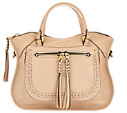 As Is orYANY Pebble Leather Satchel with Braiding Detail - Sarah - A284293