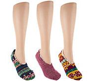 MUK LUKS Set of 3 Pairs Sherpa Lined Ballerina Socks - A284593