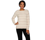 Susan Graver Striped Cozy Knit Long Sleeve Sweater - A284793