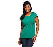 As Is George Simonton Chic Jersey Square Neck Top with Seaming Detail - A285893