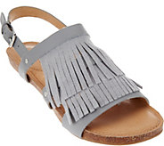 As Is Adam Tucker Leather Fringe Sandals Adj Ankle Strap - Nigella - A286493