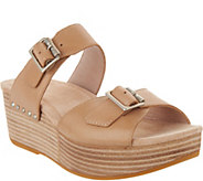 Dansko Leather Wedge Slide Sandals - Selma - A289093