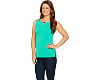 Susan Graver Liquid Knit Sleeveless Top with Keyhole Trim - A289393