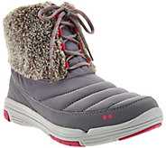As Is Ryka Faux Fur Water Repellent Lace-up Boots - Addison - A290093