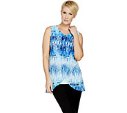 H by Halston Sleeveless Printed Chiffon Overlay Tunic - A290893