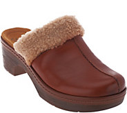 As Is Clarks Leather Clogs With Faux Fur Collar - Preslet Grove - A291893
