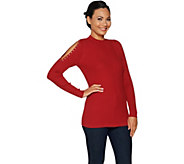 Belle by Kim Gravel Mock Neck Cold Shoulder Sweater - A293593