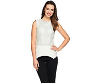 As Is G.I.L.I Perforated Faux Leather Top with Ponte Peplum Hem - A295393