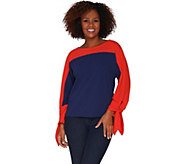 Du Jour Color-Blocked Dolman Sleeve Knit Top with Tie Cuff Detail - A303293