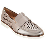 Earth Perforated Leather Slip-on Loafers - Masio - A304193