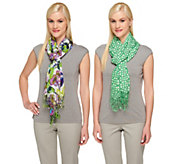 As Is Isaac Mizrahi Live! Set of Two Printed Scarves - A304793