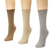 MUK LUKS Womens 3-Pair Textured Crew Sock Pack - A337693
